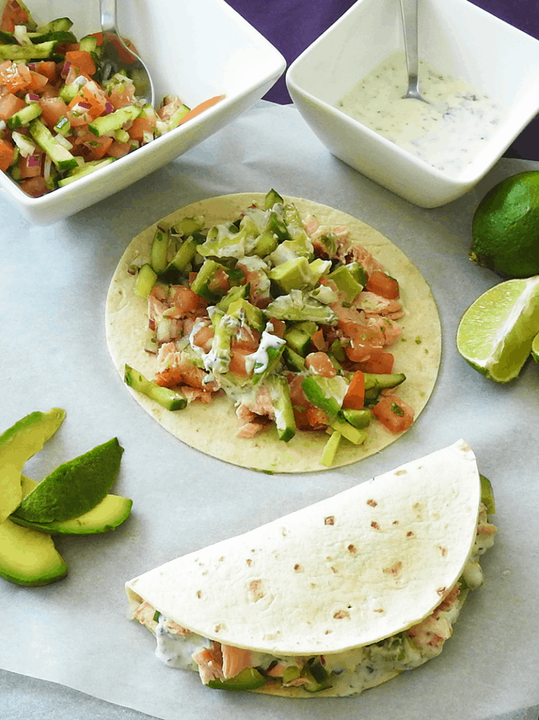 Tacos - Salmon with Cucumber Salsa