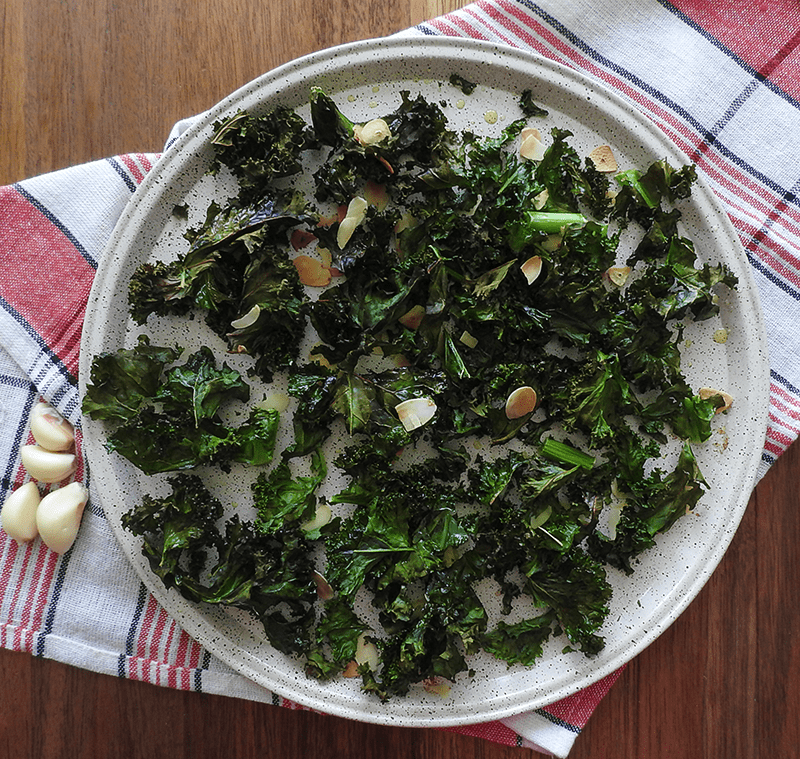 Baked Kale Almond Garlic