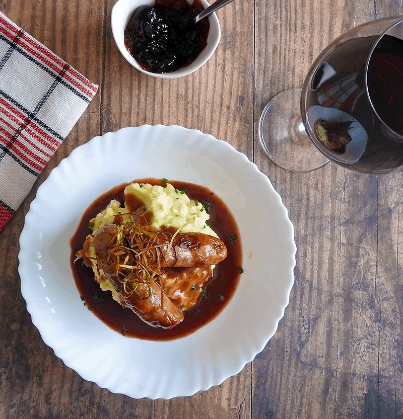 Bangers and Mash recipe with Redcurrant Jus