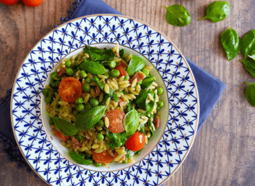 Bacon Spinach Orzo with Pesto
