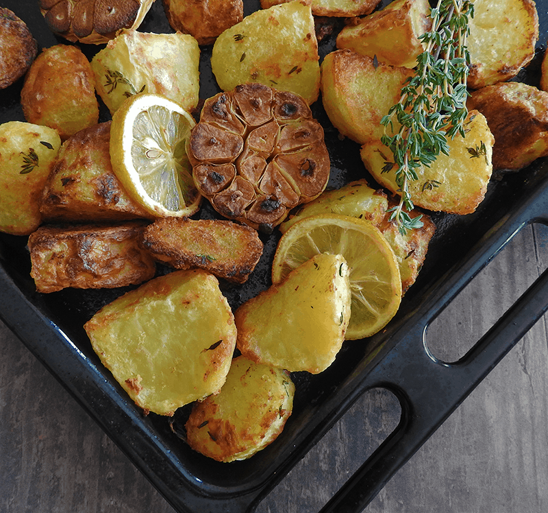 Garlic Lemon Thyme Roast Potatoes Recipe
