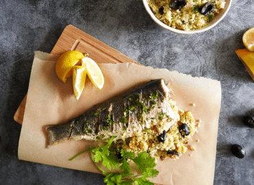 Cous Cous Stuffed Sea Bass