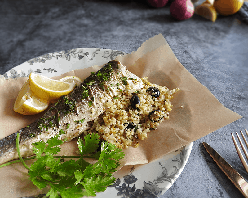 Cous Cous Stuffed Sea Bass Recipe