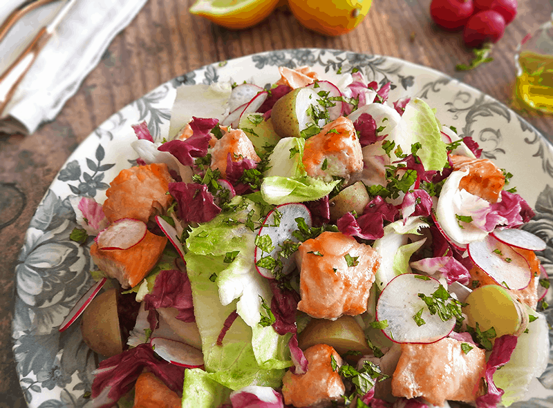 Honey Salmon Salad Endives