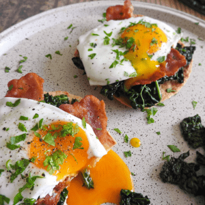Kale Egg Bacon Breakfast Tostadas