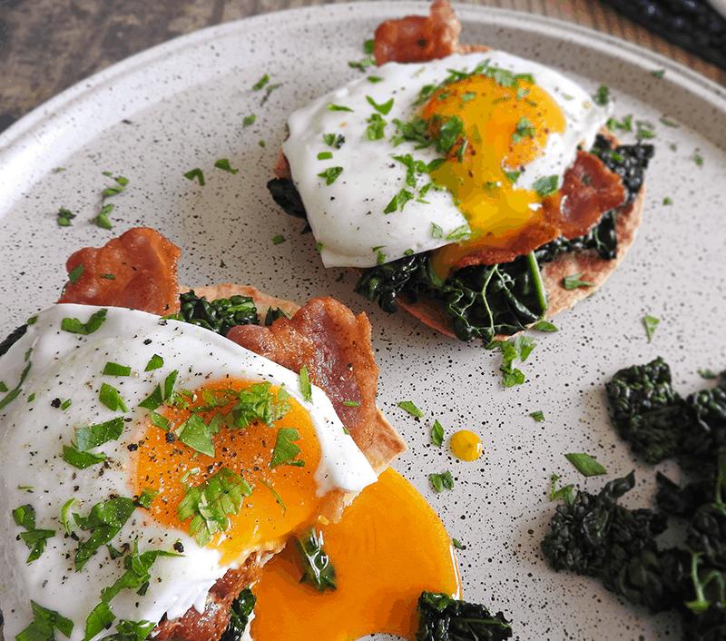 Kale Egg Bacon Breakfast Tostadas