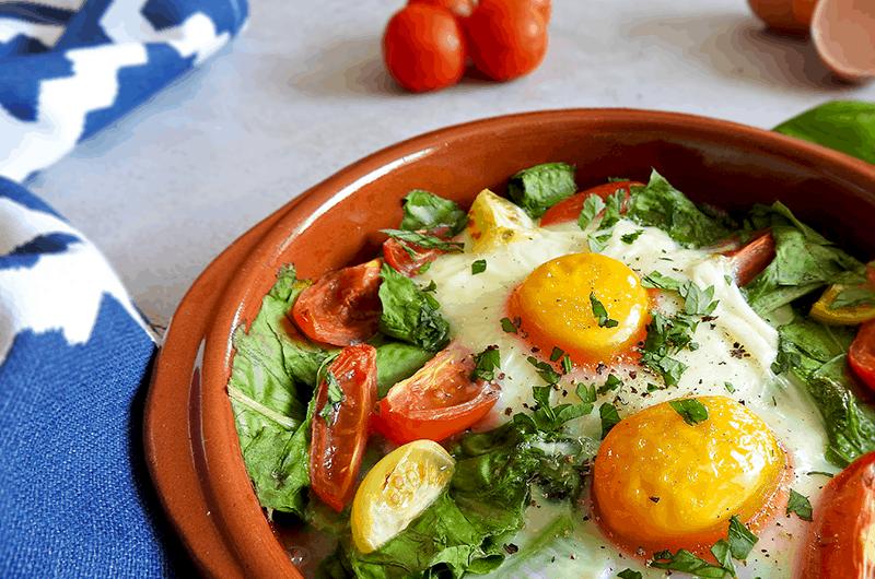 Basil & Tomato Baked Eggs