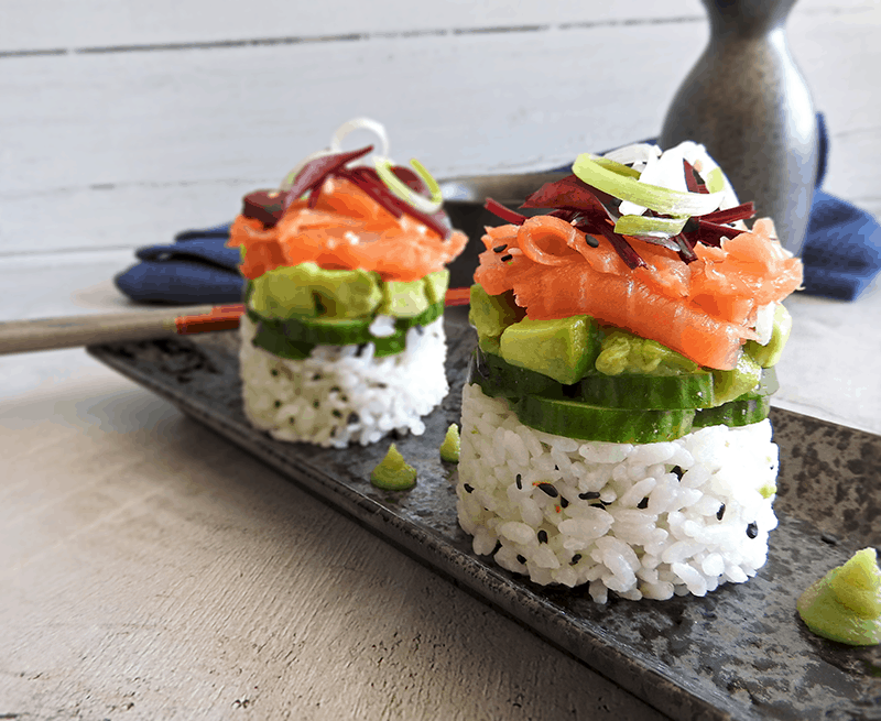 Smoked Salmon Stack Sushi