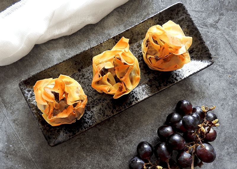 Stilton & Grape Filo Tarts