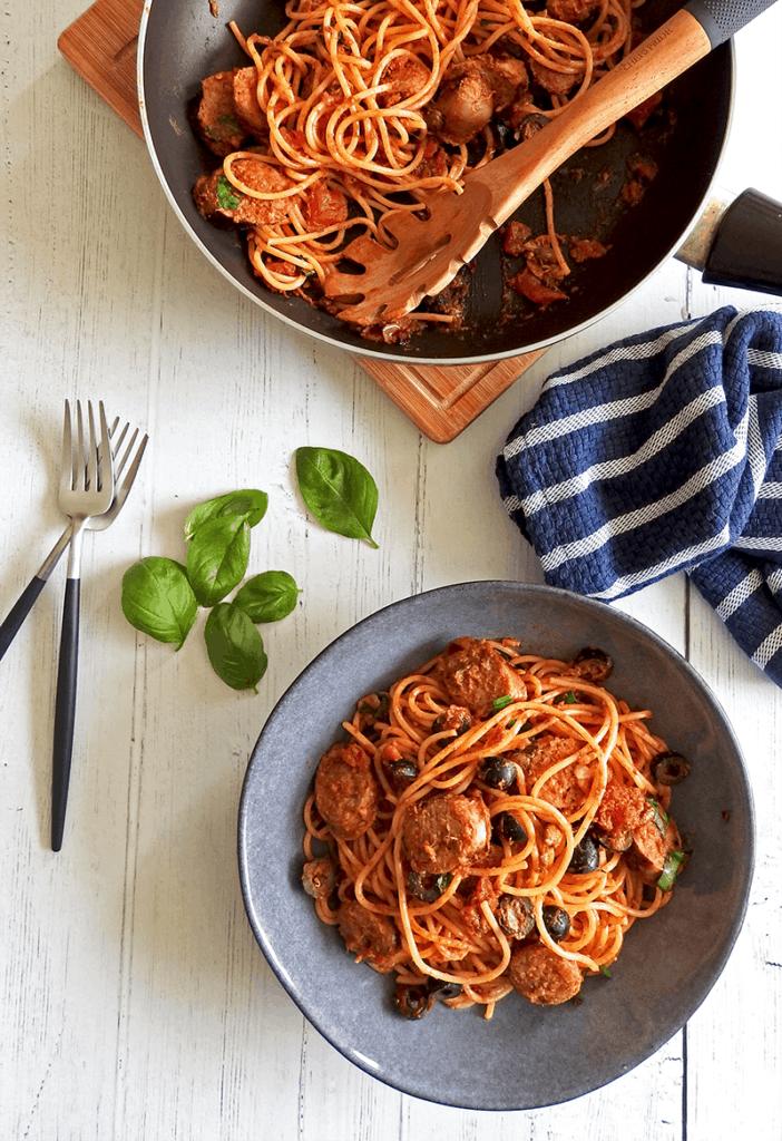 Puttanesca Sausage Spaghetti