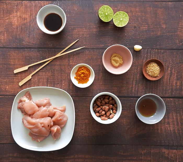 Healthy Chicken Satay Skewers Ingredients