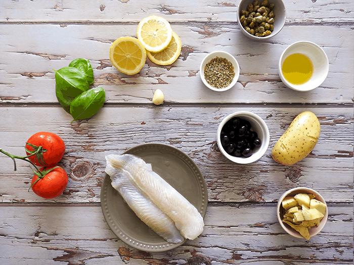 Mediterranean Baked Cod Ingredients