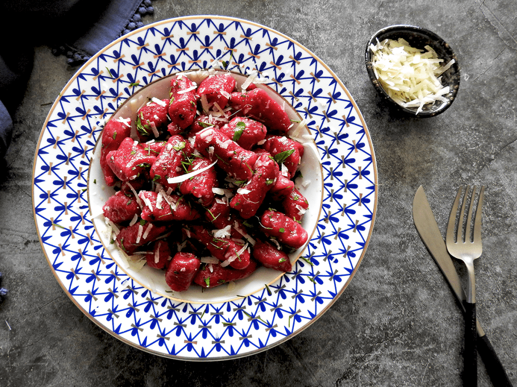 Beetroot Gnocchi in a bowl