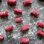Prepared Beetroot Gnocchi on the counter