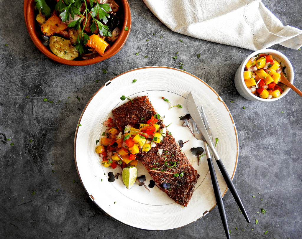 Baked Cajun Salmon picture with salad and salsa