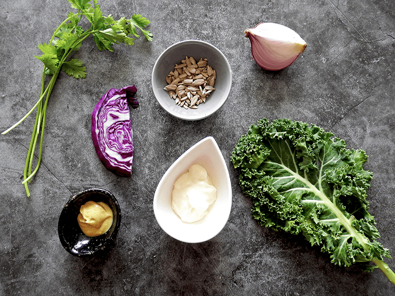 Healthy Kale Coleslaw Ingredients