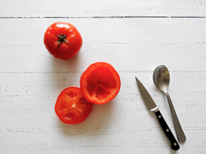 Greek Stuffed Tomatoes Step 1 Remove inside of tomatoes