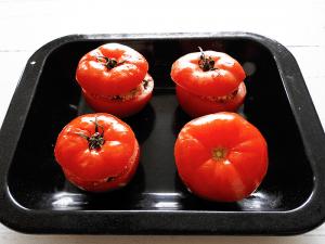 Greek Stuffed Tomatoes Step 6 Bake in the oven