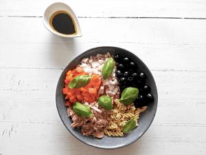 Healthy Tuna Pasta Salad prep all ingredients