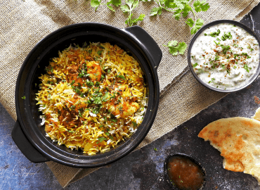 King Prawn Biryani Served on a table