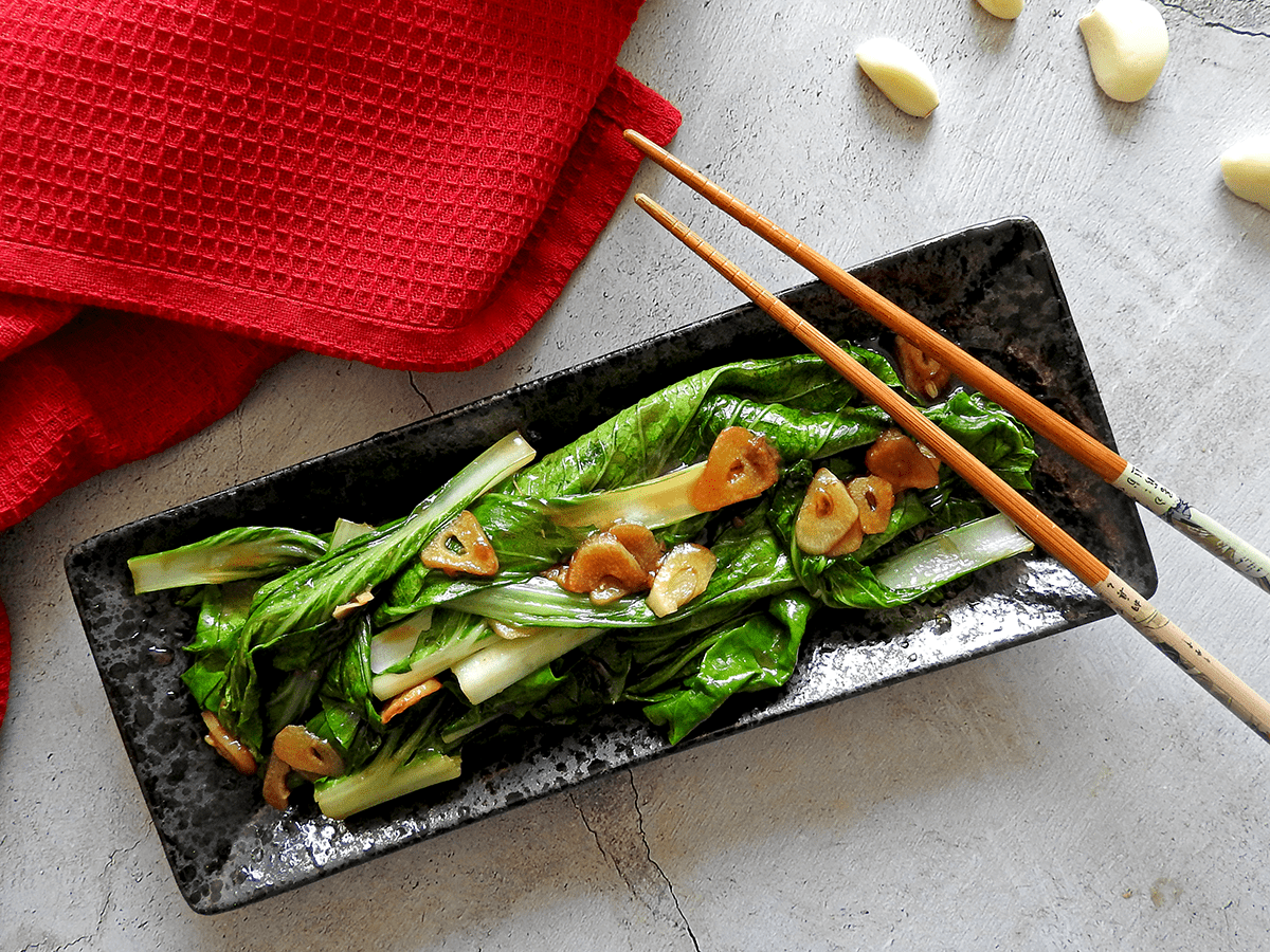 Pak Choy with Oyster Sauce on a plate