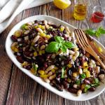 Simple Three Bean Salad on a plate