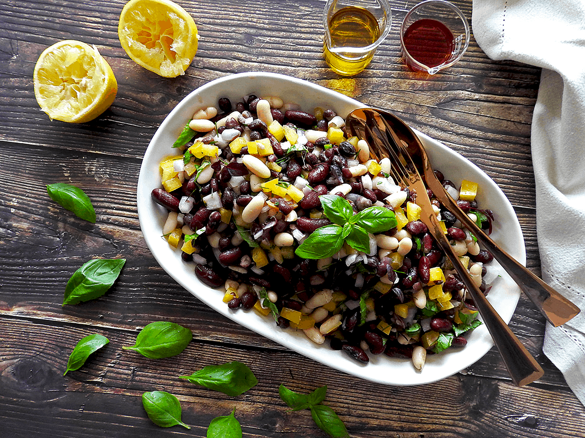 Three Bean Salad ready to serve