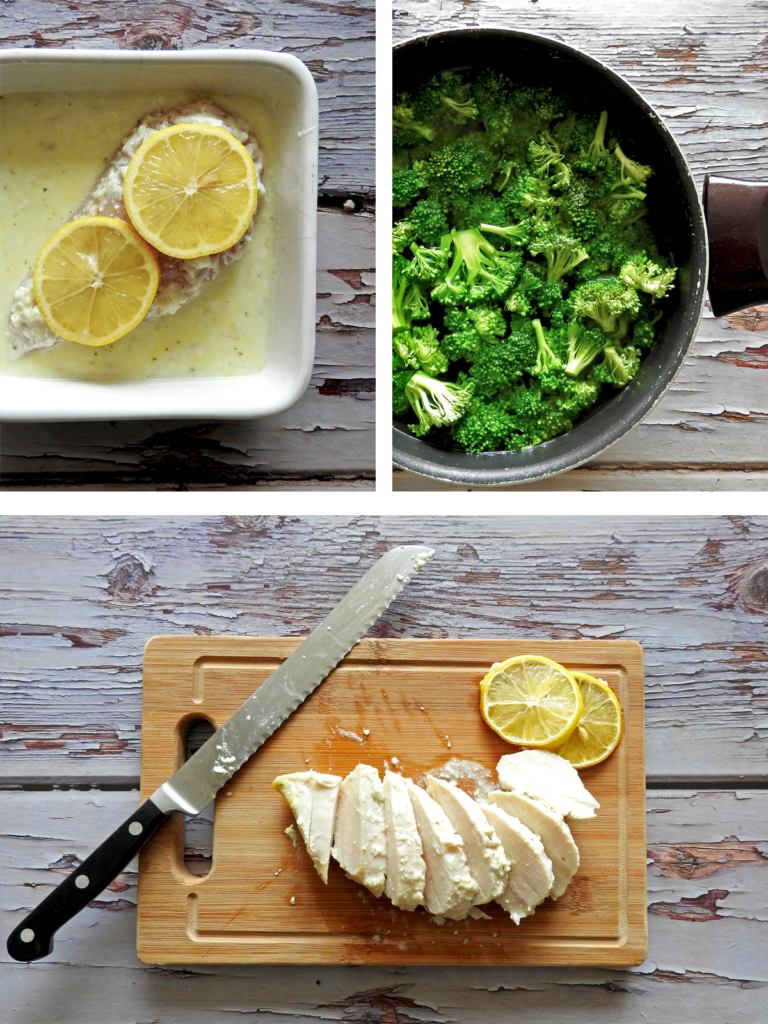 Recipe Steps. Marinade Chicken then bake. Boil broccoli and pasta, slice chicken, mix together