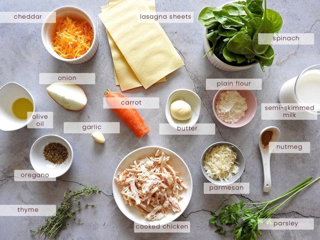 Chicken spinach lasagna ingredients