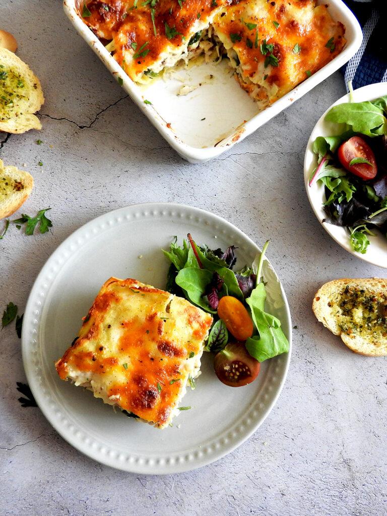 Chicken spinach lasagna served on a plate