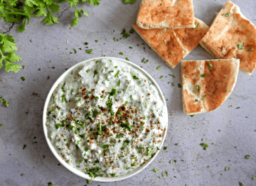 Cucumber raita in a bowl