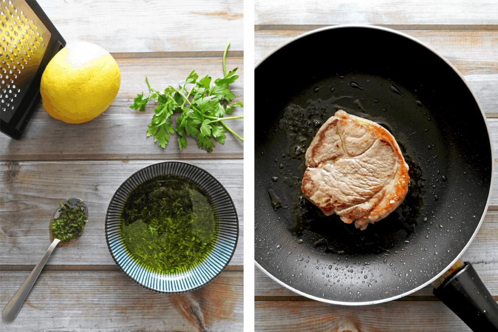 Step 1 prepare gremolata and pan fry steak