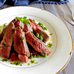 Lamb plated over gnocchi, feta and mint