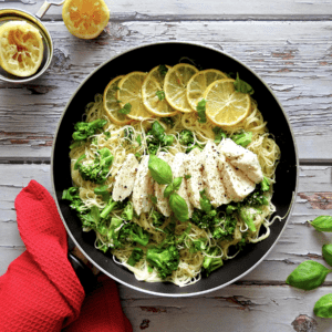 Lemon Chicken Angel Hair Pasta In A Frying Pan