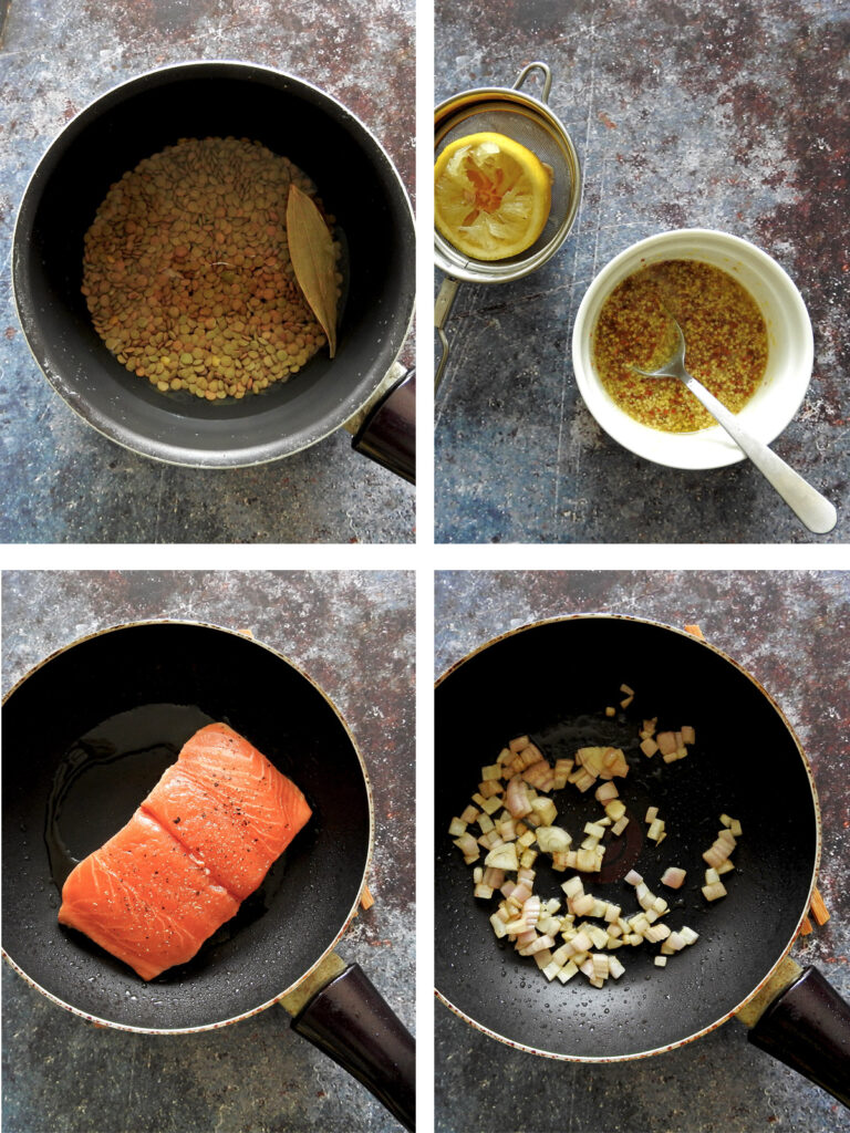 Recipe steps 1-4, cook lentils, make dressing, pan sear salmon and sauté onion