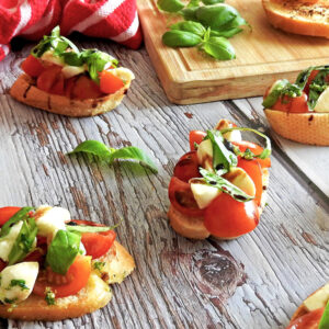 Caprese Bruschetta on a table