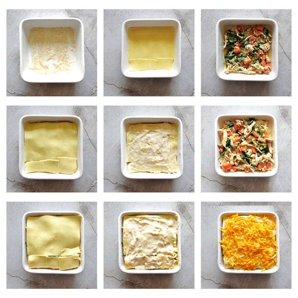 Step by step assembly of the lasagna