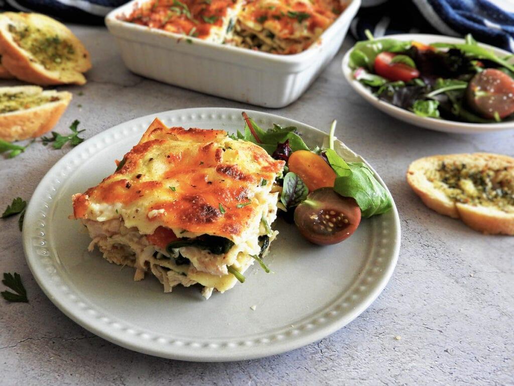 Chicken lasagna served on a plate