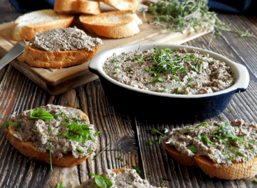 Mushroom pate served on sliced baguette