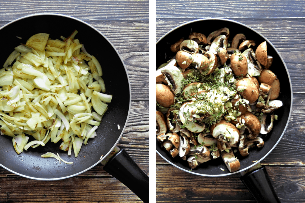 Recipe Steps 1 and 2 sweat onions in pan then add mushrooms and herbs