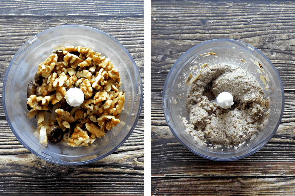 Recipe steps 3 and 4. Blend mushroms in blender with walnuts