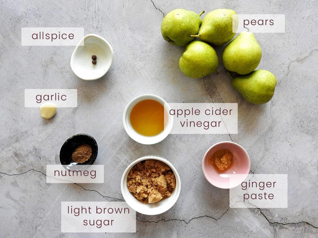 Pear chutney ingredients
