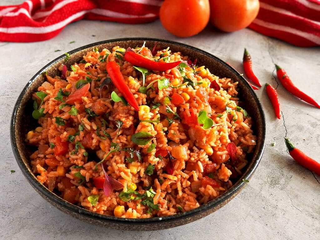 Mexican Rice on a counter in a bowl
