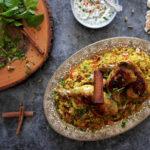 Arabic chicken machboos on a platter