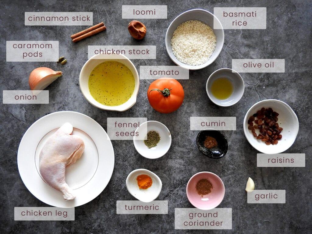Chicken Machboos Ingredients