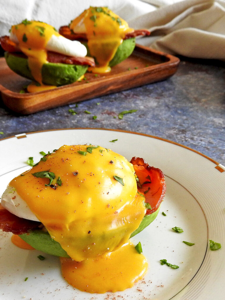 Avocado benedict on a plate