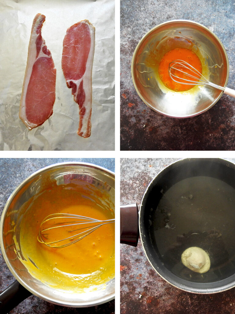 Recipe steps 1 - 4. Cook the bacon in the oven, make the hollandaise sauce, poach the egg