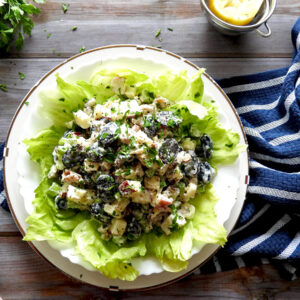 Waldorf salad on lettuce leaves