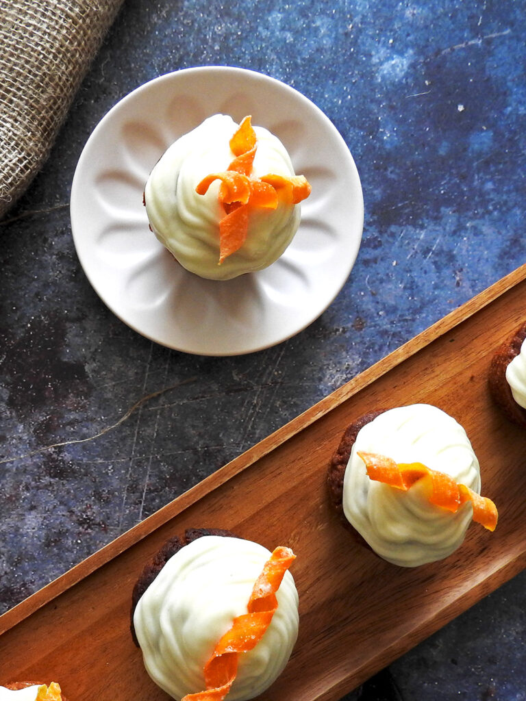 Carrot cakes on the counter from overhead
