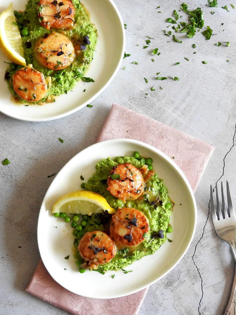 Scallops and pea puree recipe